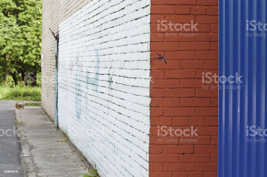 corner and painted wall with graffiti royalty-free stock photo