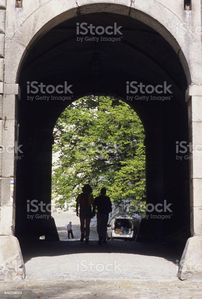 Corner arch tunnel stock photo
