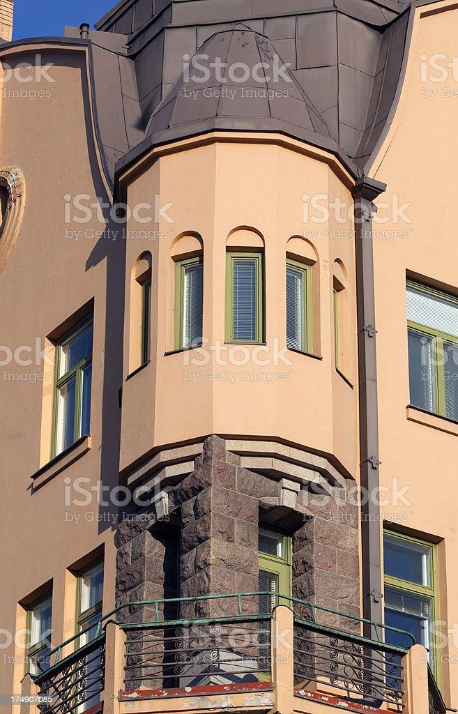 Corner balcony stock photo
