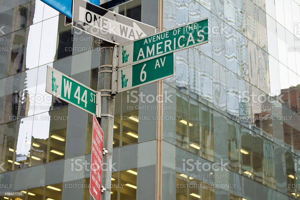 Corner Between Avenue Of The Americas And 44th Street. royalty-free stock photo