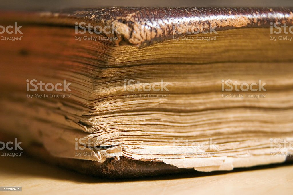 Corner detail of old book royalty-free stock photo