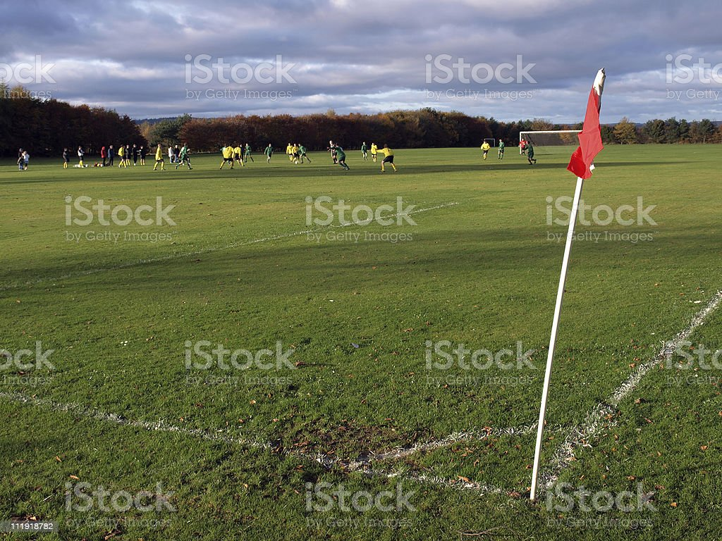 Corner flag at a soccer game royalty-free stock photo