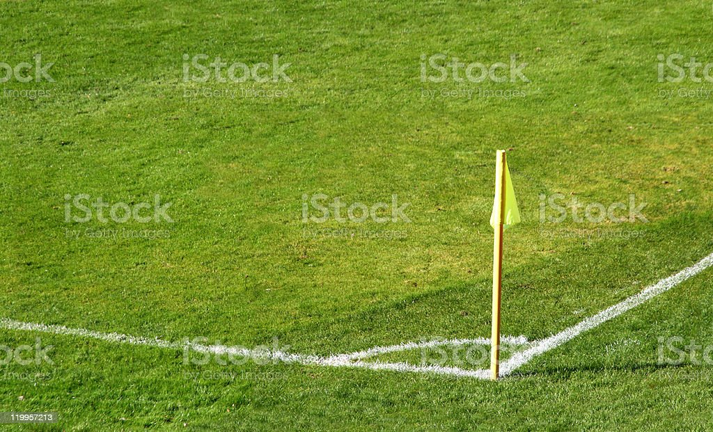 Corner flag of an soccer field stock photo