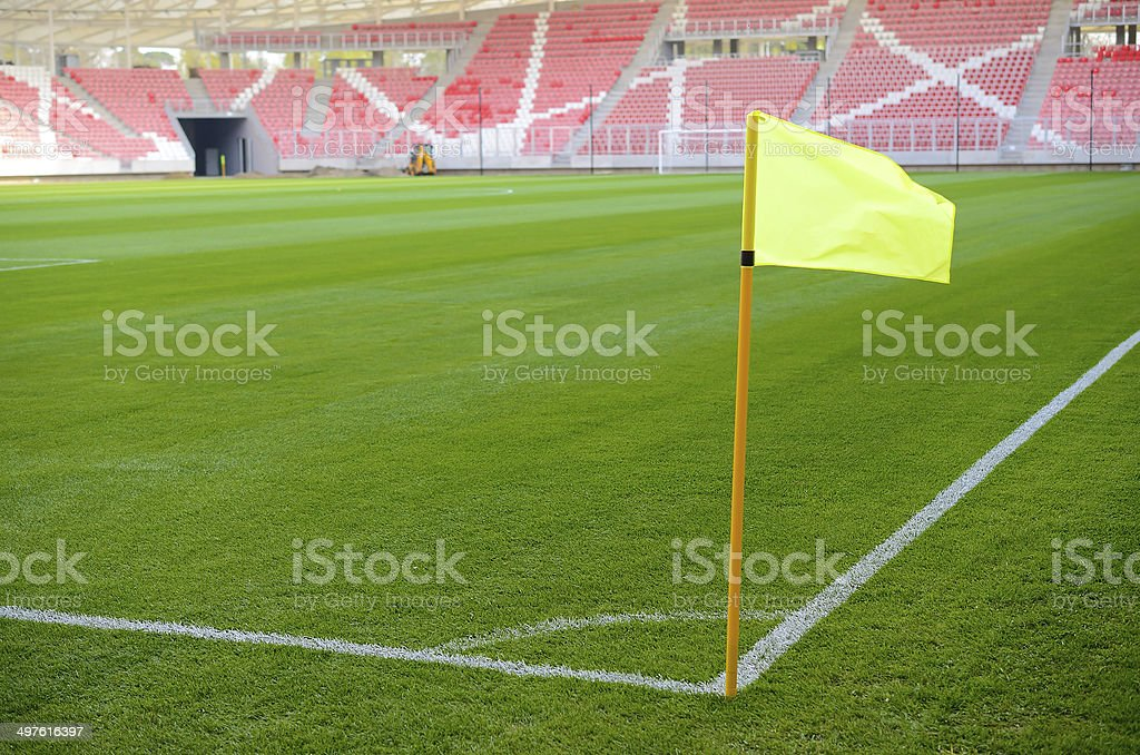 Corner flag on an soccer field royalty-free stock photo