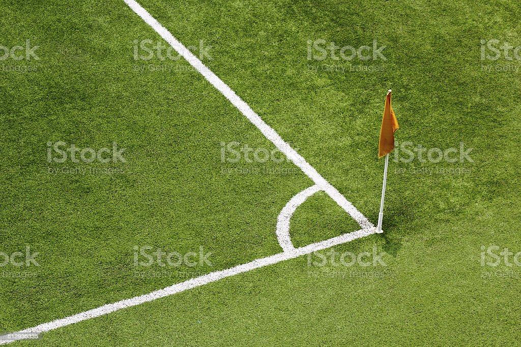 Corner flag on an soccer field stock photo