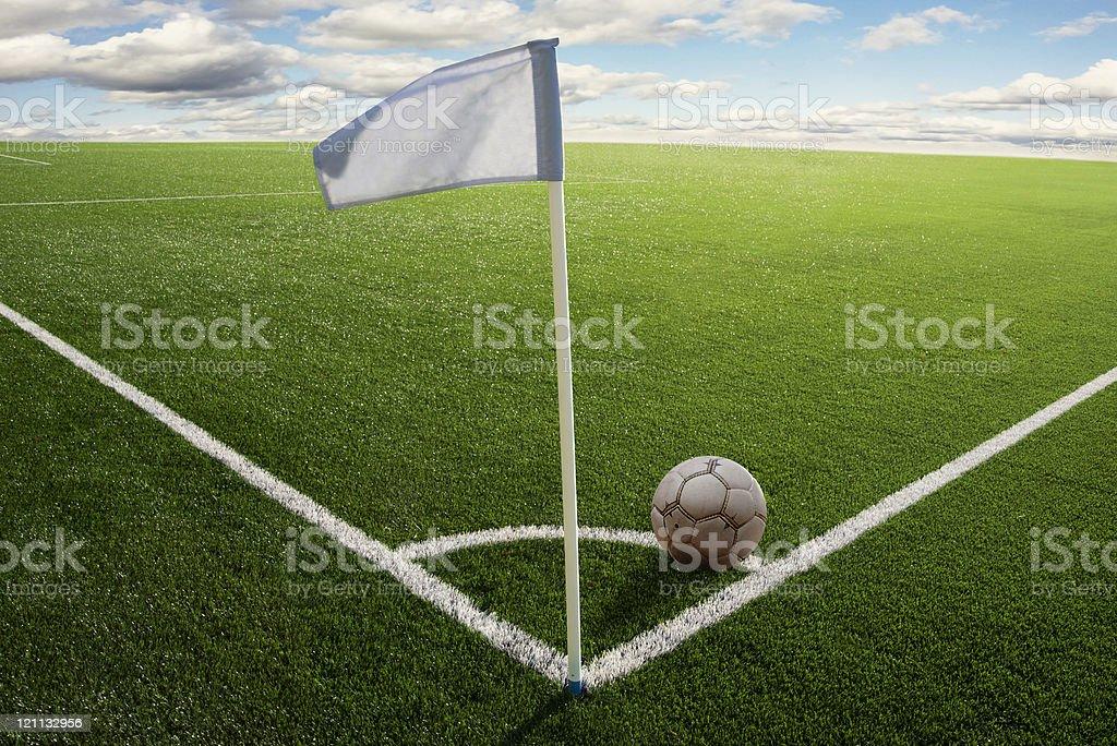 Corner flag on soccer field stock photo