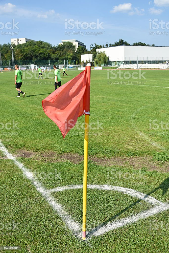 Corner flag on the soccer field stock photo