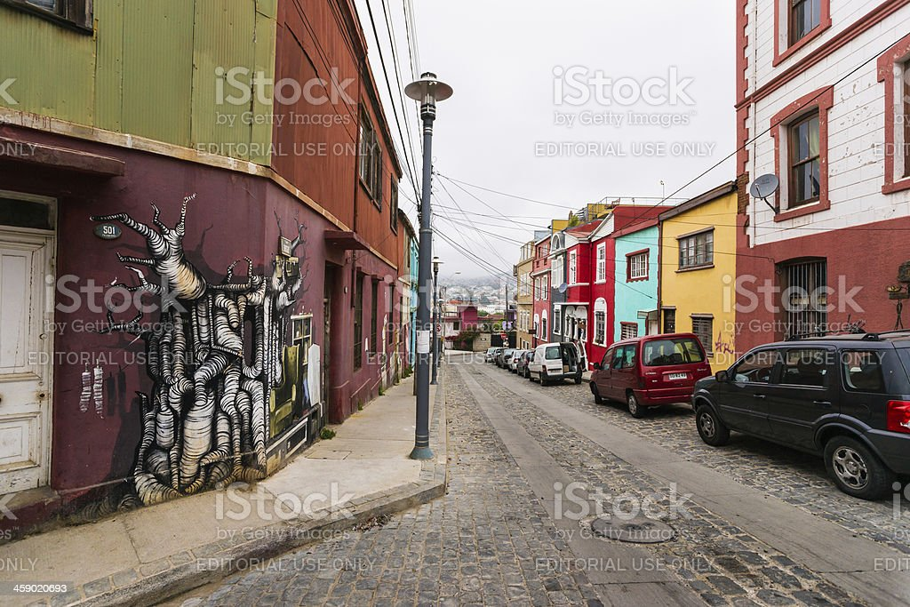 Corner House Covered with Elaborate Graffiti stock photo