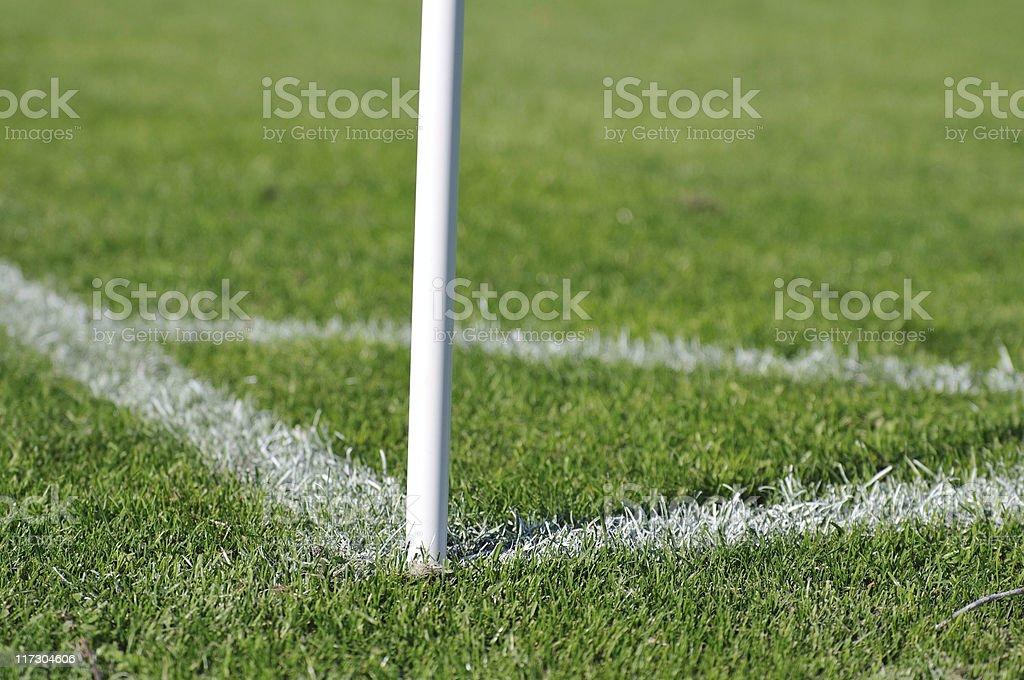Corner kick area on a soccer field stock photo