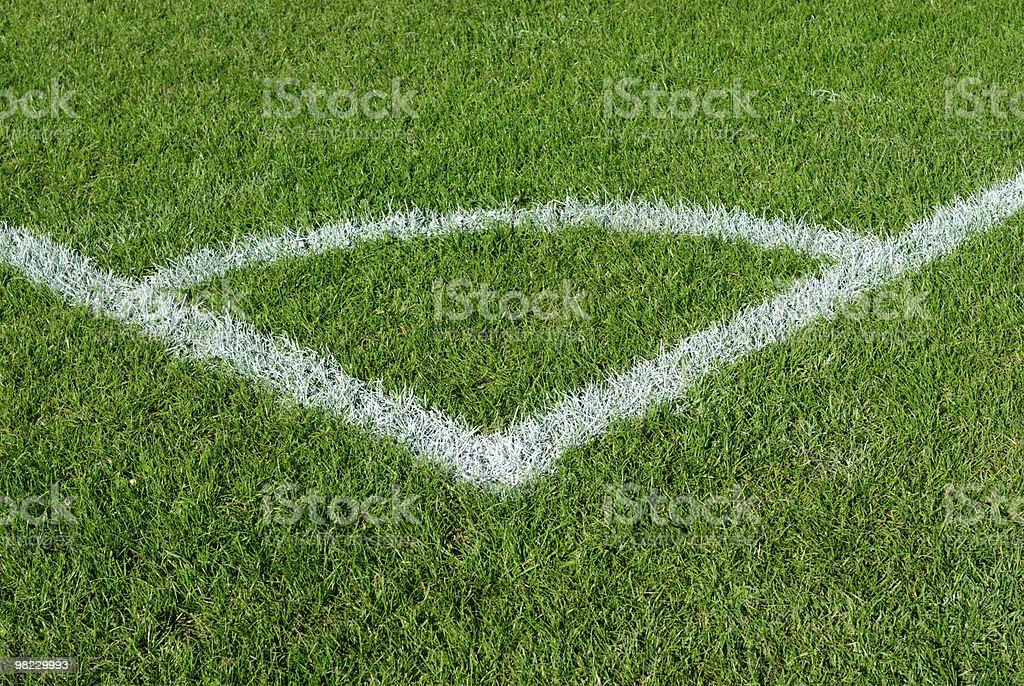 Corner kick area on a soccer field royalty-free stock photo