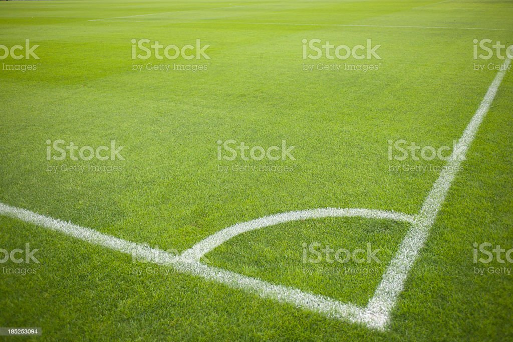 Corner Kick at Soccer Field during Soccer Game stock photo