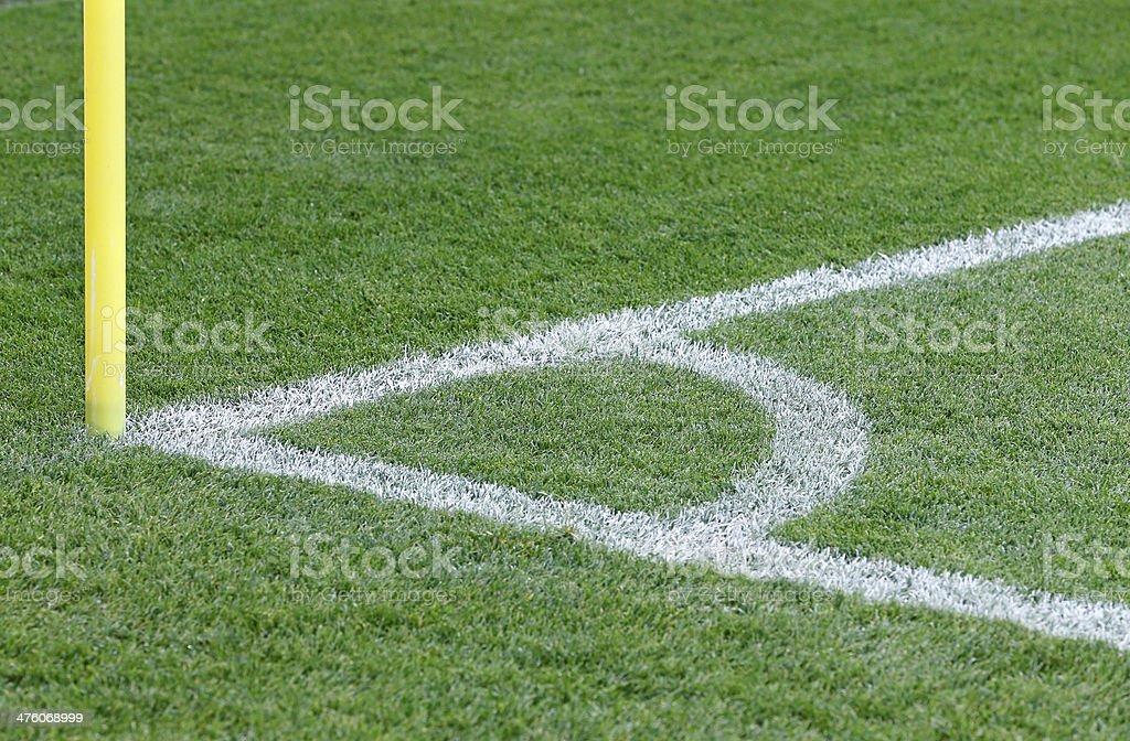 Corner kick of green soccer field royalty-free stock photo