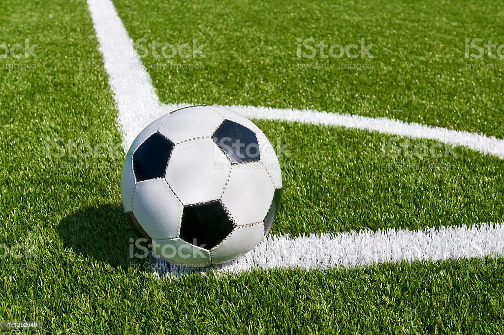 Corner kick on beautiful soccer field stock photo