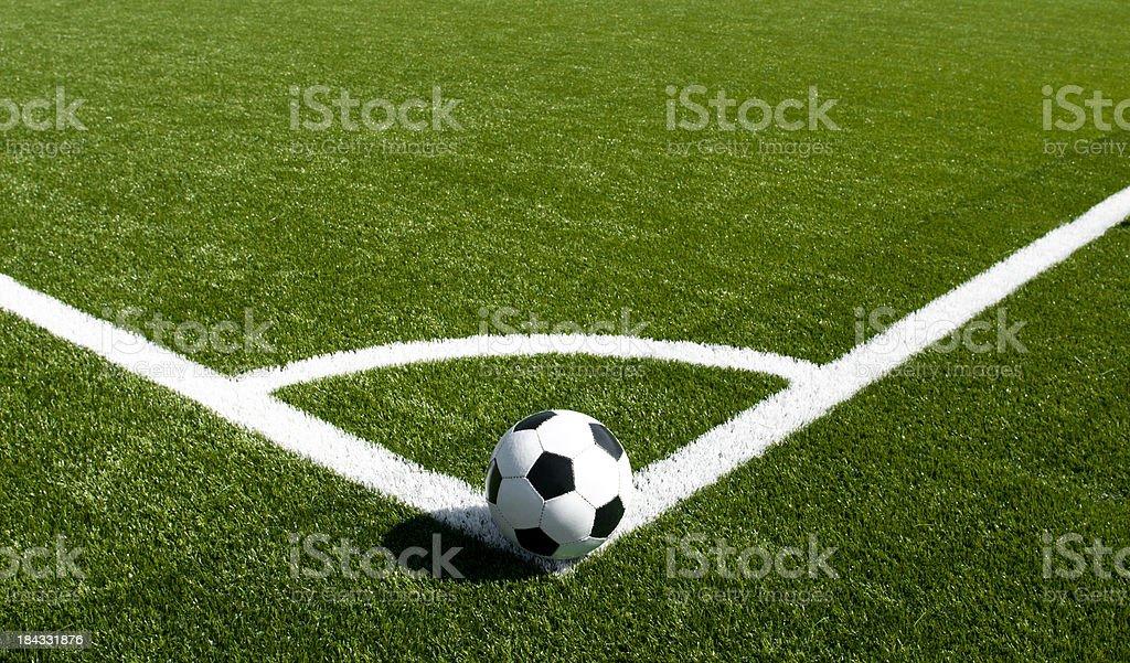 Corner kick on beautiful soccer field stock photo