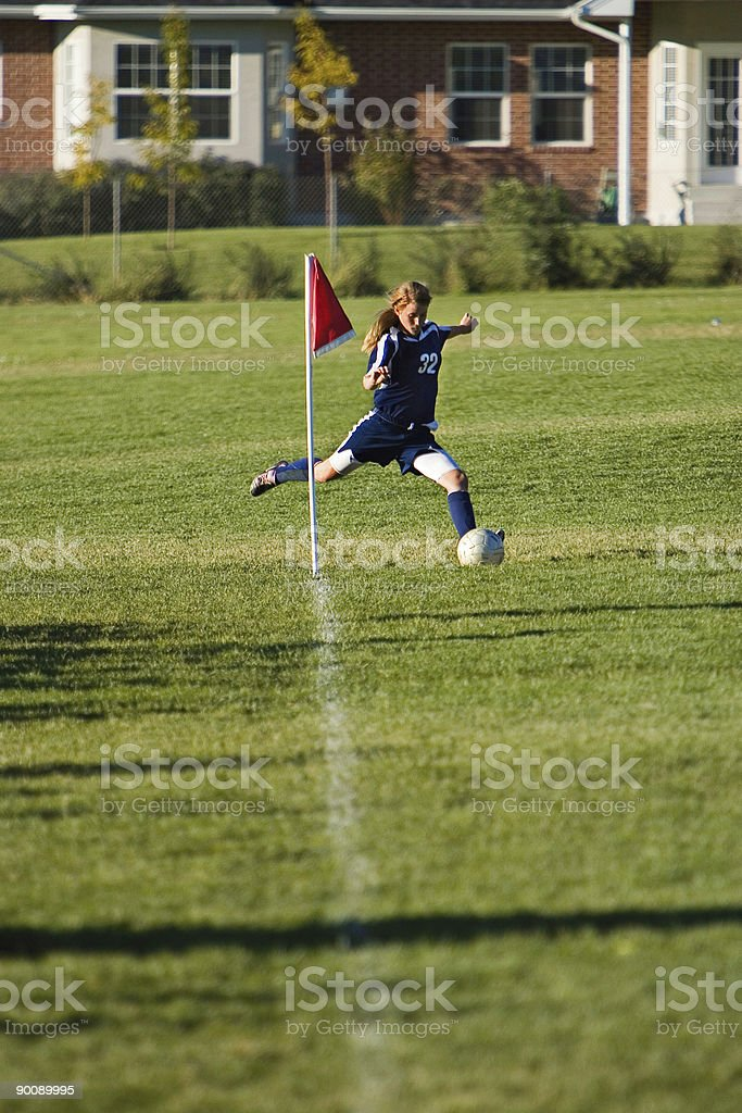 Corner Kick with Copy Space royalty-free stock photo