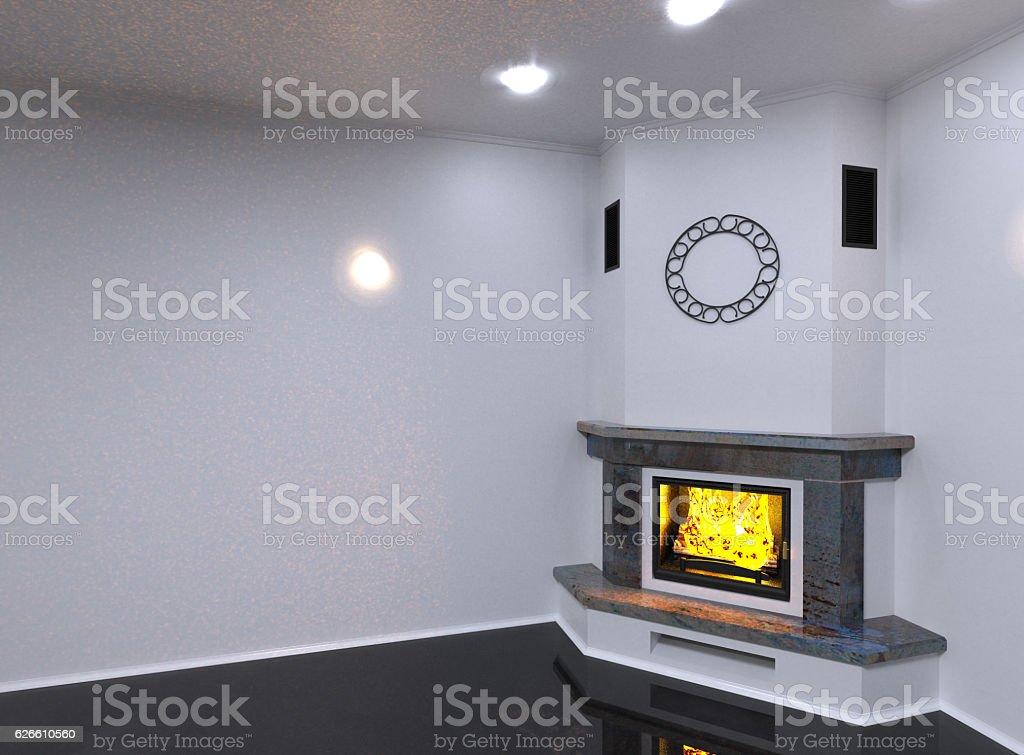 Corner marble fireplace. 3D render stock photo