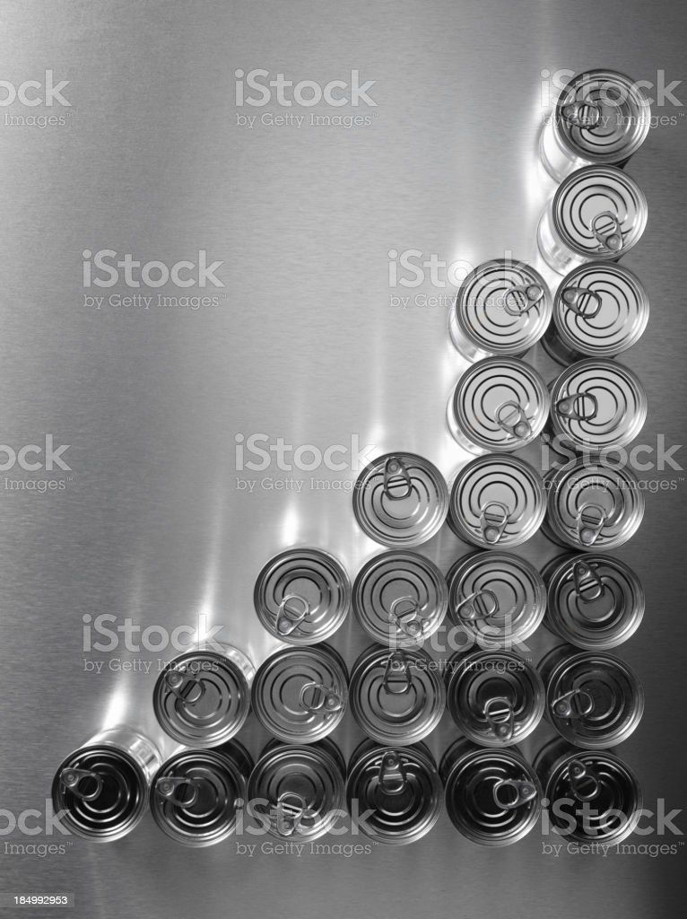 Corner Marking of Tin Cans stock photo
