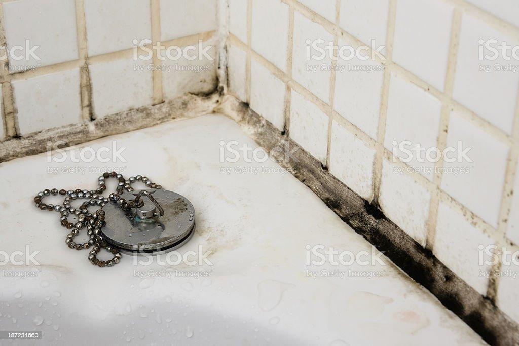 Corner of a bathtub in a dirty bathroom royalty-free stock photo