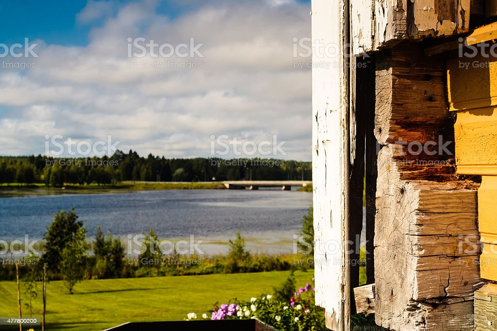 Corner Of An Old Wooden Building stock photo