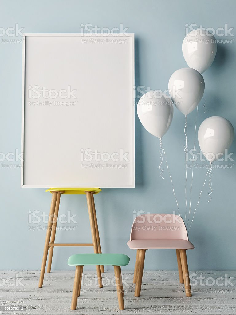 Corner of children room, Empty poster stock photo