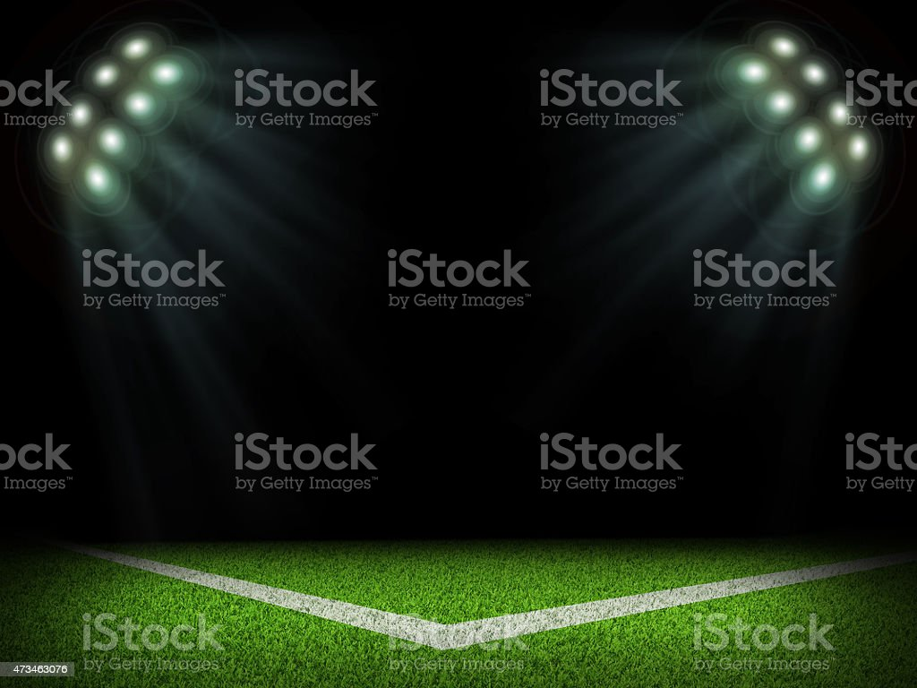 Corner of empty stadium with bright spotlights stock photo