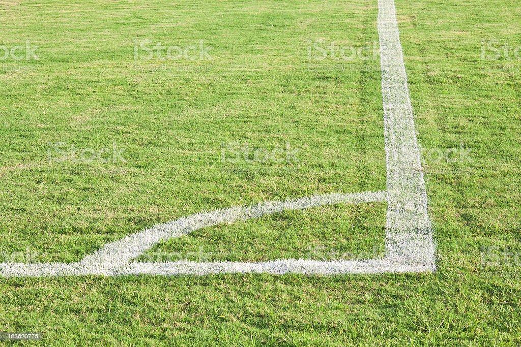 Corner of green football ( soccer ) field royalty-free stock photo
