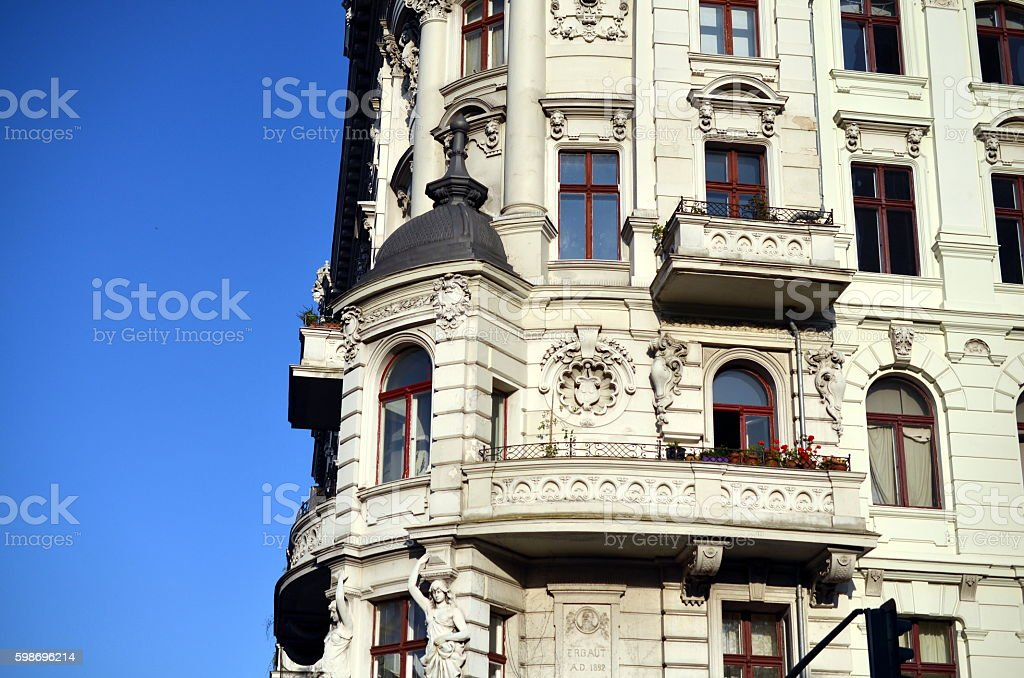 corner of old baroque building and balcony, berlin stock photo