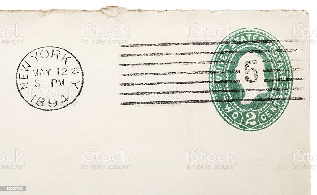 Corner of old envelope with Washington two cent stamp royalty-free stock photo