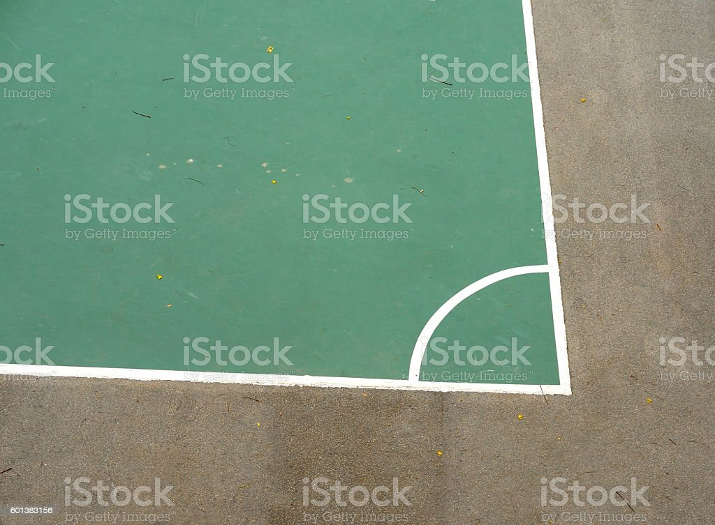 Corner of outdoor (play)ground soccer field on asphalt stock photo