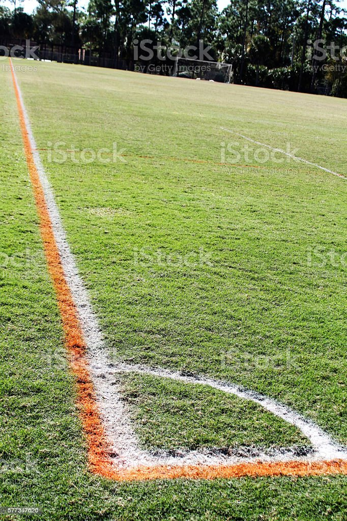 Corner of soccer field stock photo