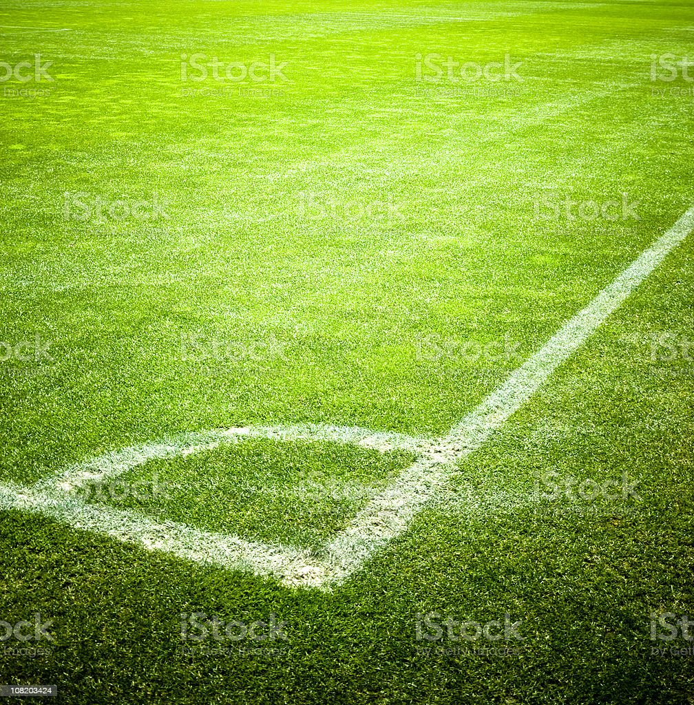 Corner of Soccer Field With Vivid Green Grass, Background Football stock photo