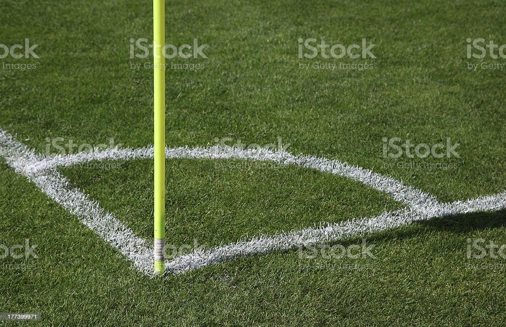 Corner of soccer pitch royalty-free stock photo