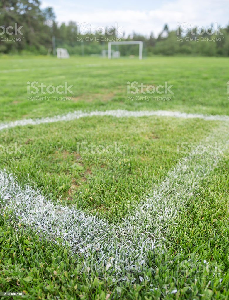 Corner of Soccer Pitch stock photo