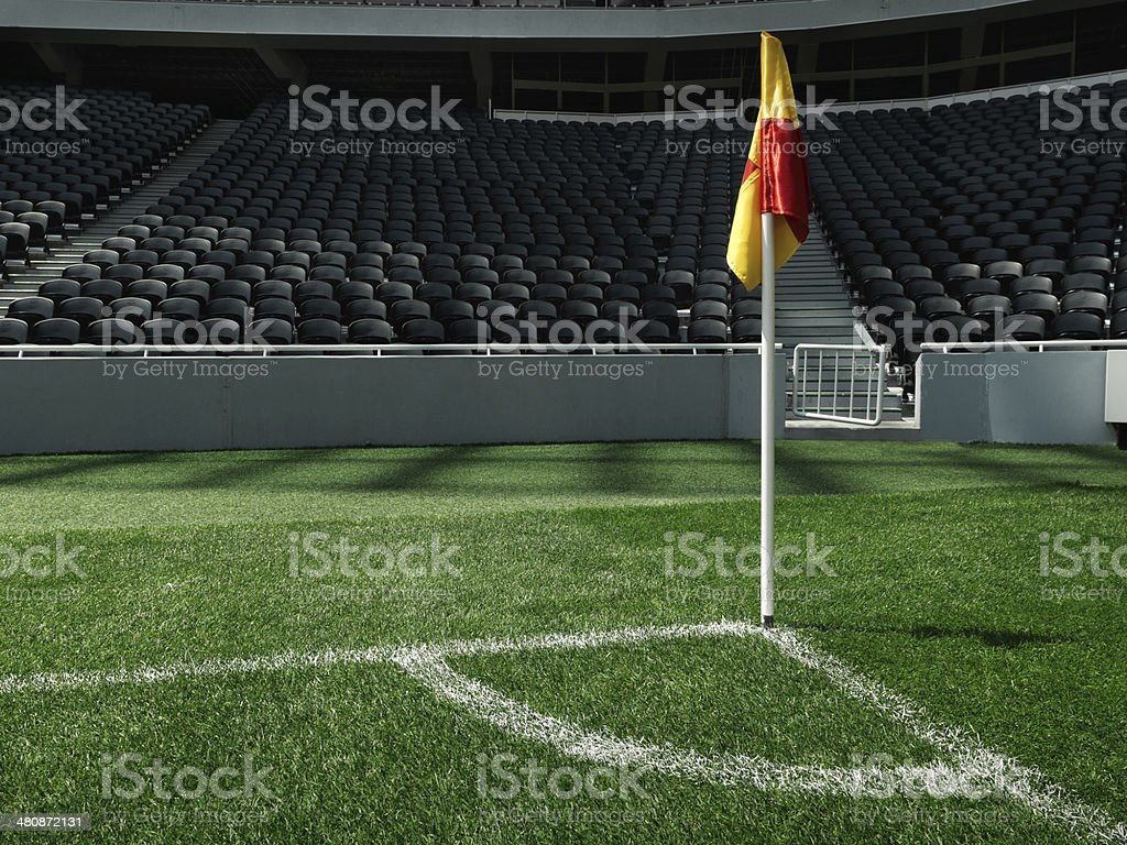Corner of soccer stadium with flag stock photo