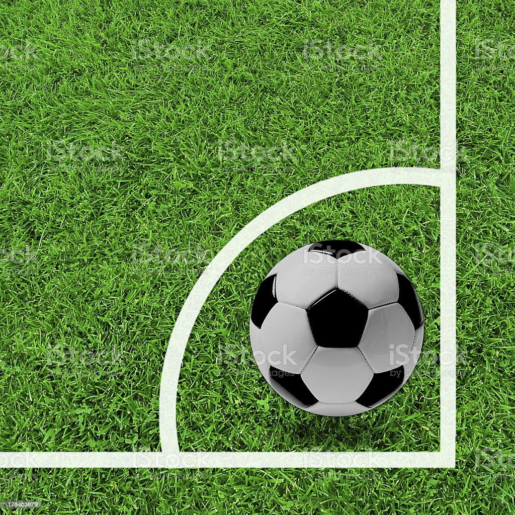 Corner of Soccer  with  Green Grass, stock photo