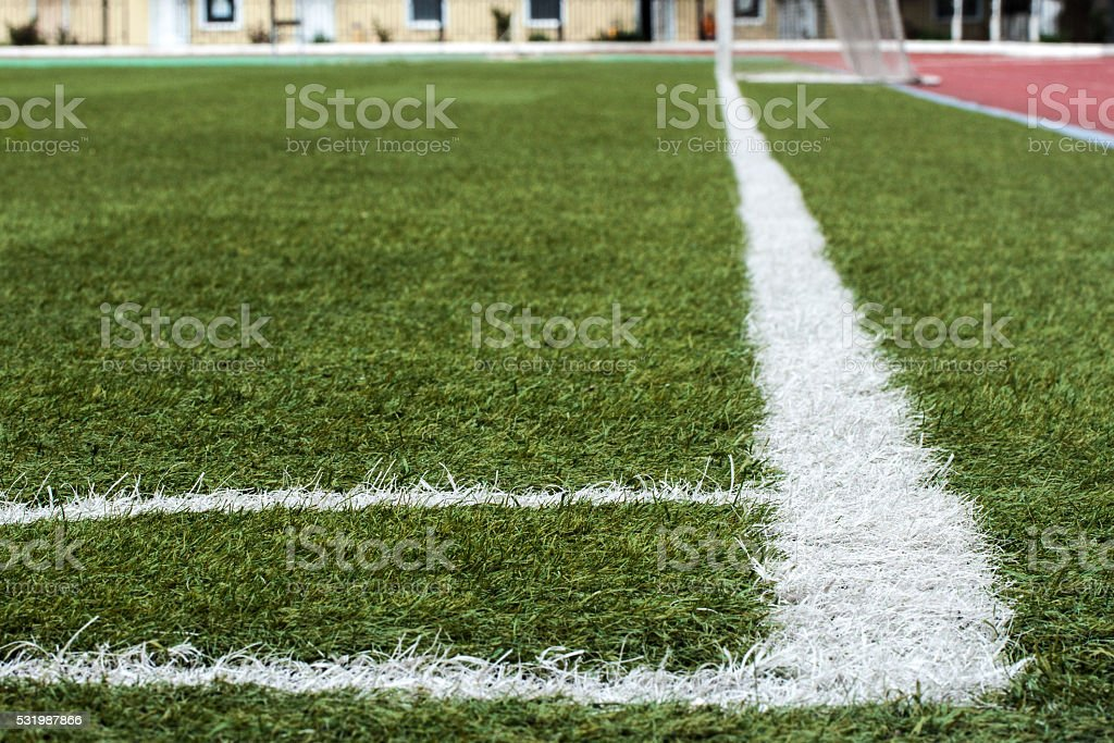 Corner of the soccer field stock photo