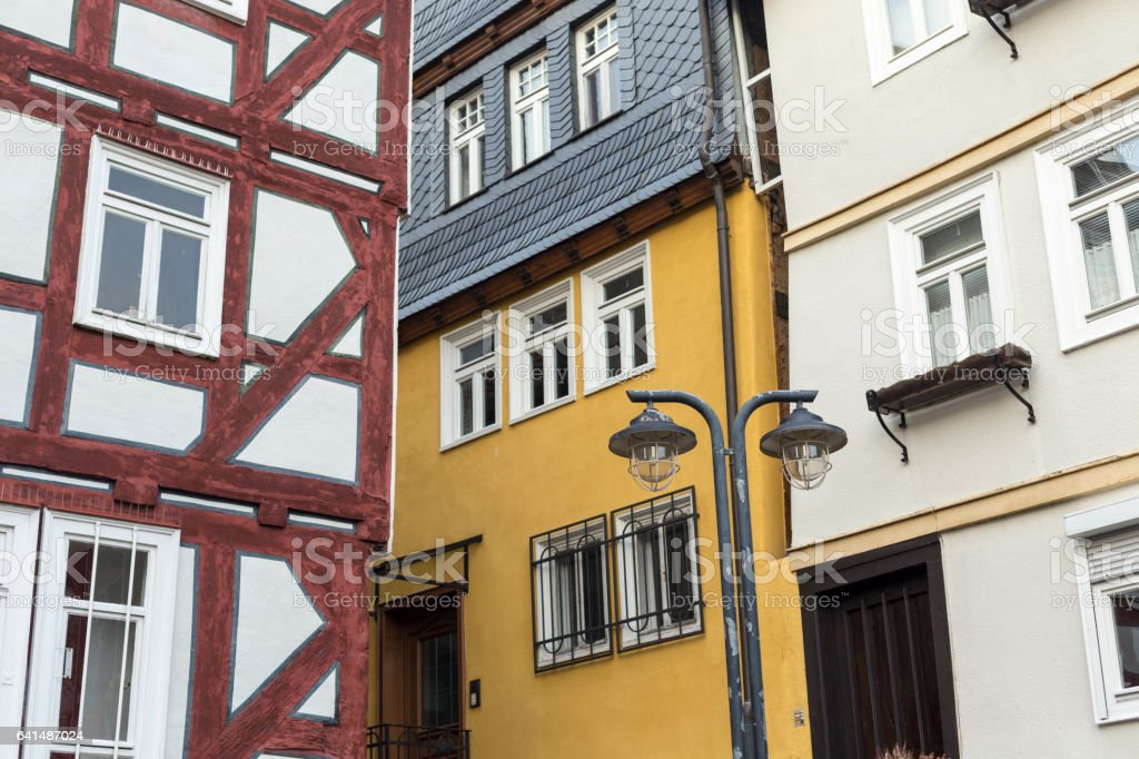 Corner of three typical German houses stock photo