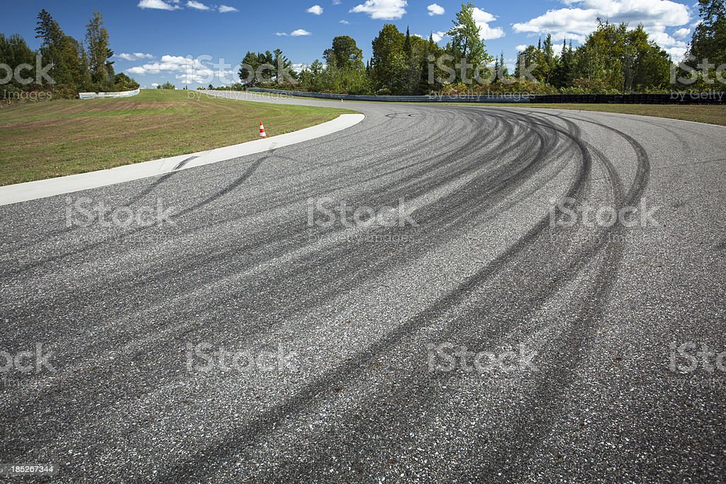 Corner on a car race track stock photo
