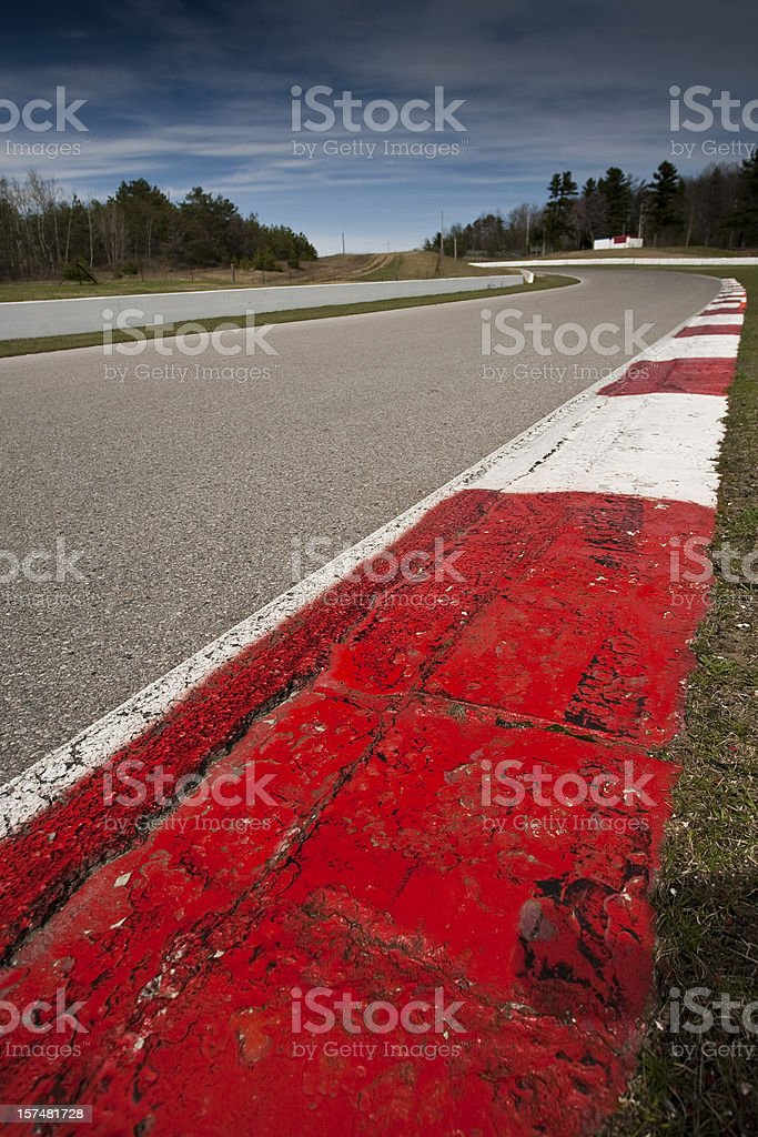 Corner rumble strips on a car race track royalty-free stock photo