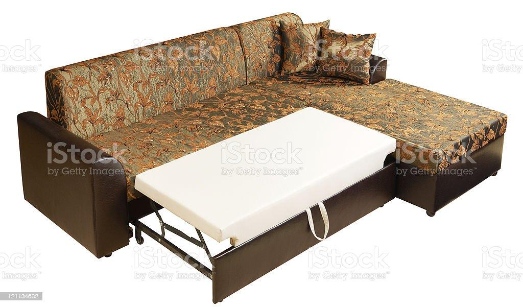 Corner sofa-bed bedroom suite stock photo