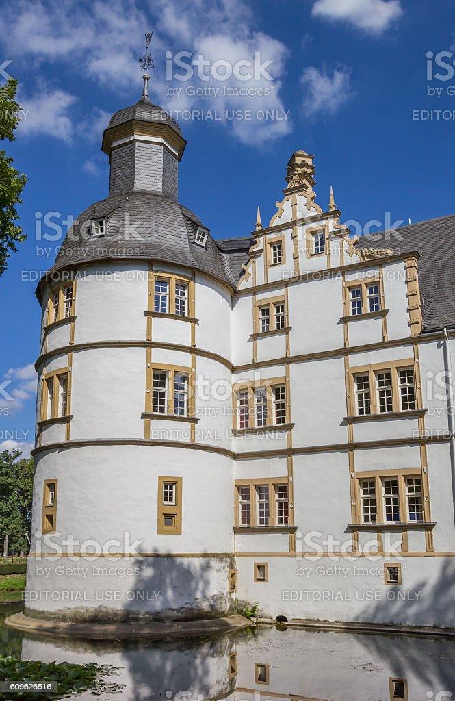 Corner tower of the Nauhaus castle in Paderborn stock photo