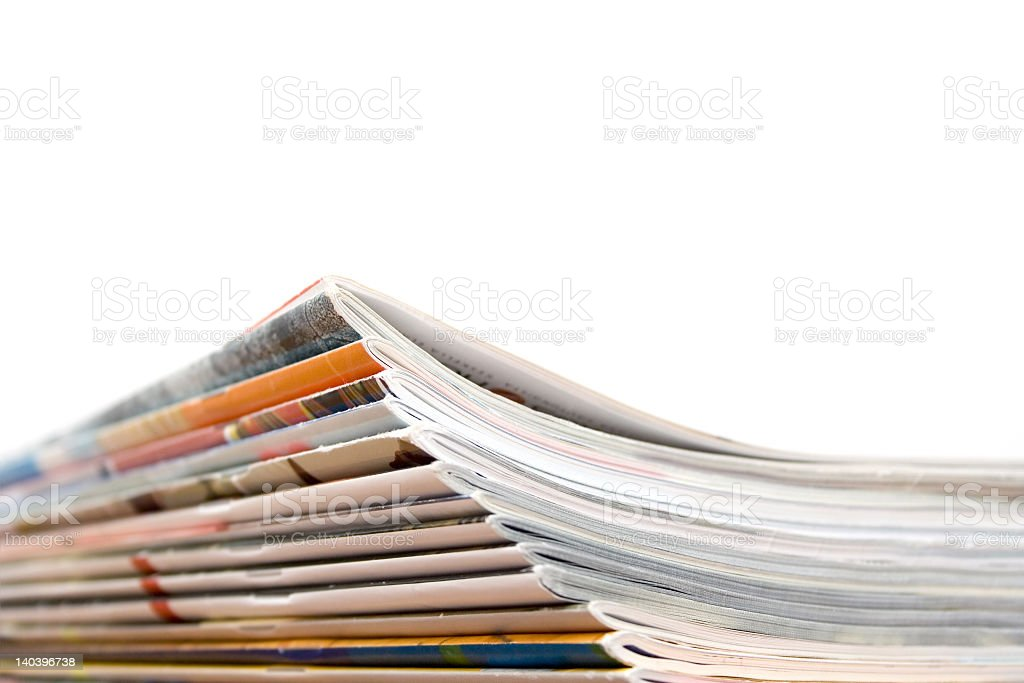 Corner view of a stack of magazines  royalty-free stock photo