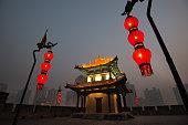 Corner Watch Tower of City Wall in Xian, China