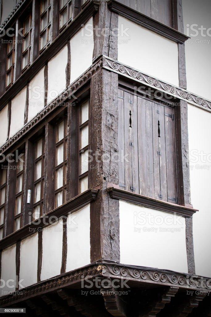 corner windows, hondarribia stock photo