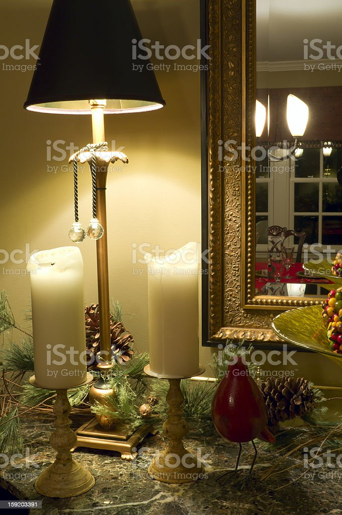 Corner with a lamp and two lights royalty-free stock photo