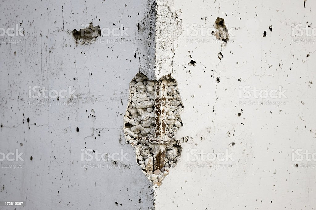 Corner with something like a human face. Craked wall. Series. royalty-free stock photo