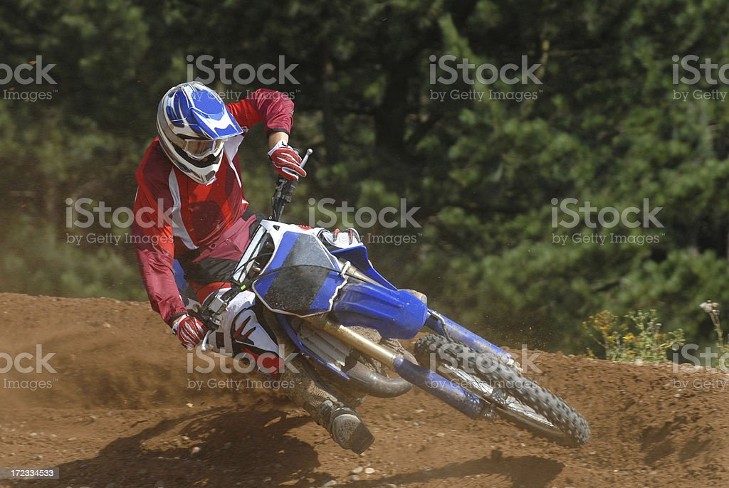 Cornering Dirtbike royalty-free stock photo