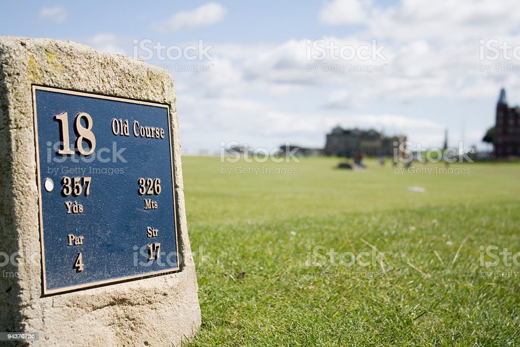 Cornerstone with old course written on it stock photo