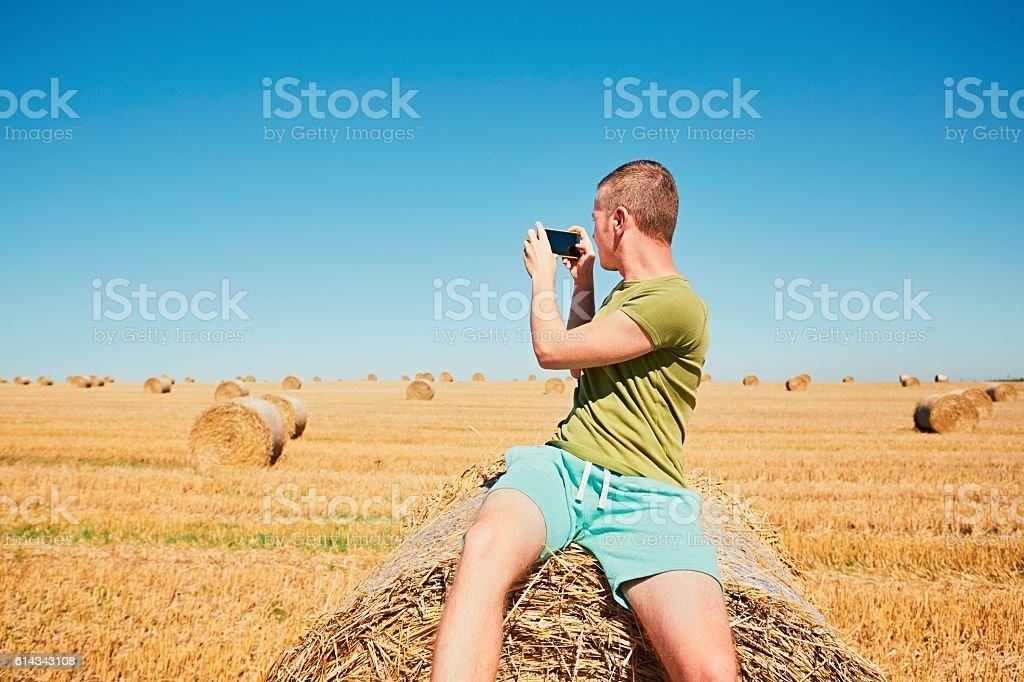 Cornfield after harvest stock photo