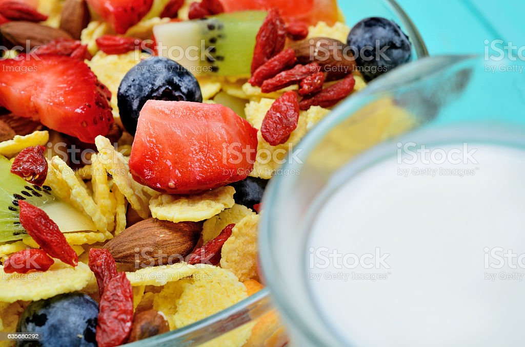 cornflake on table stock photo